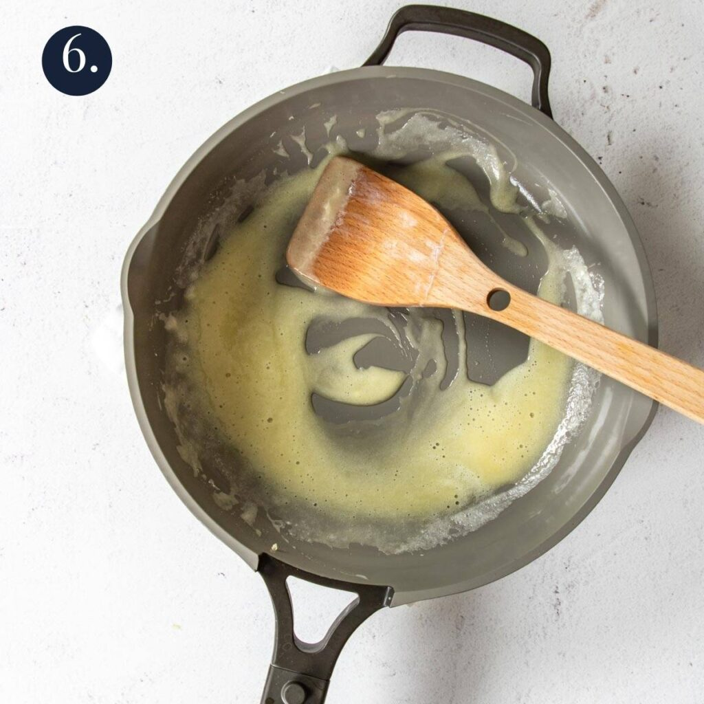 flour and butter melted in a skillet