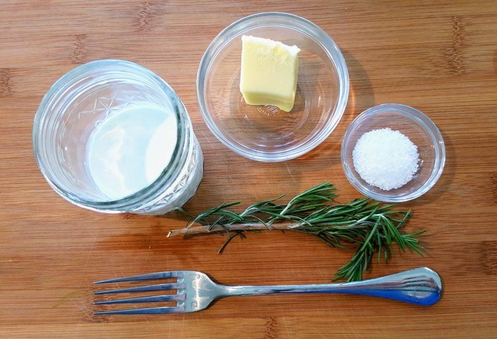 ingredients for rosemary cauliflower puree