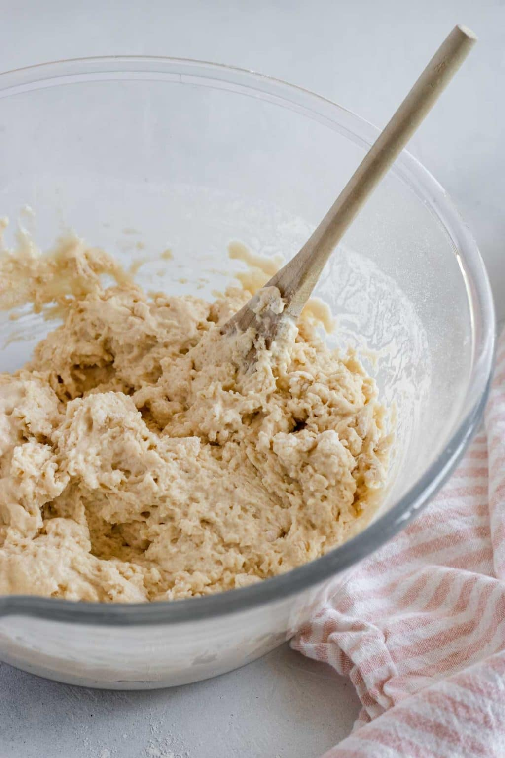 beer bread dough in a mixing bowl