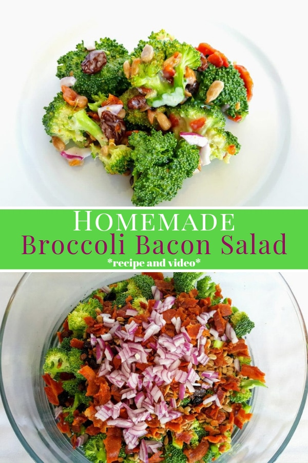 homemade broccoli bacon salad pinterest image