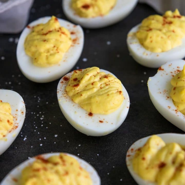 Classic Deviled Eggs garnished with paprika