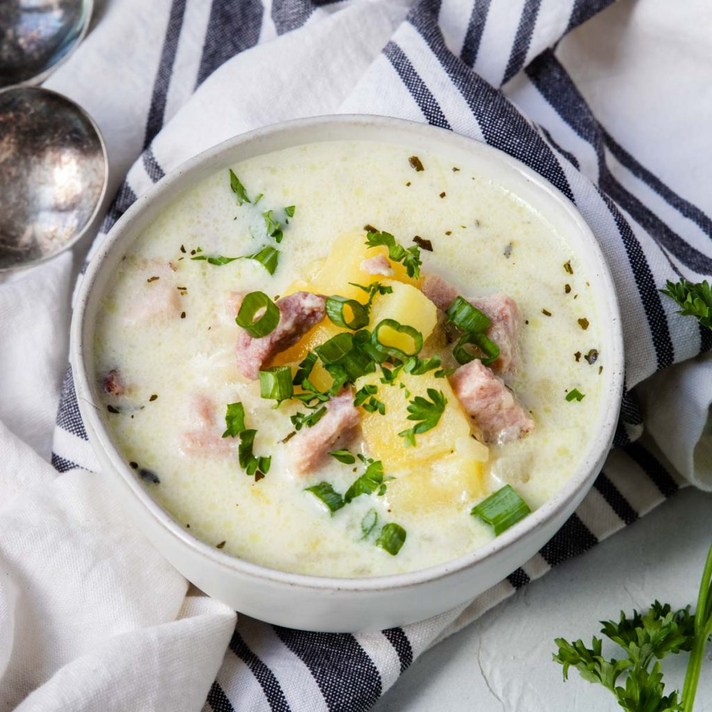 One bowl of ham and potato chowder