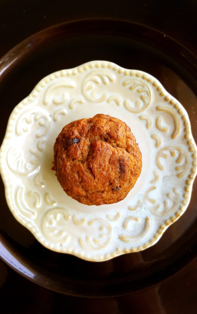 Healthier Banana Nut Muffin on a white plate momsdinner.net
