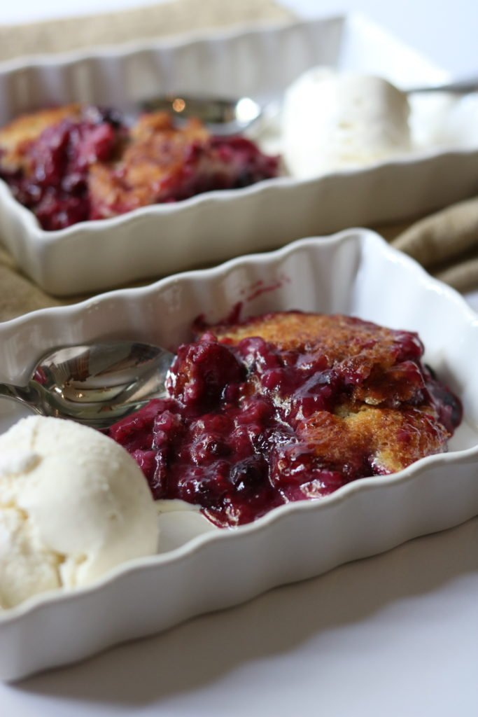 summer berry cobbler with ice cream momsdinner.net