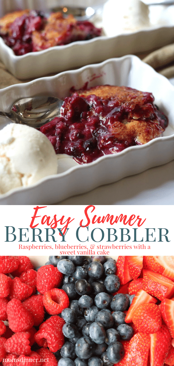 Summer Berry Cobbler with raspberries, blueberries and strawberries pin image