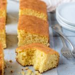 Best Ever Cornbread cut into slices
