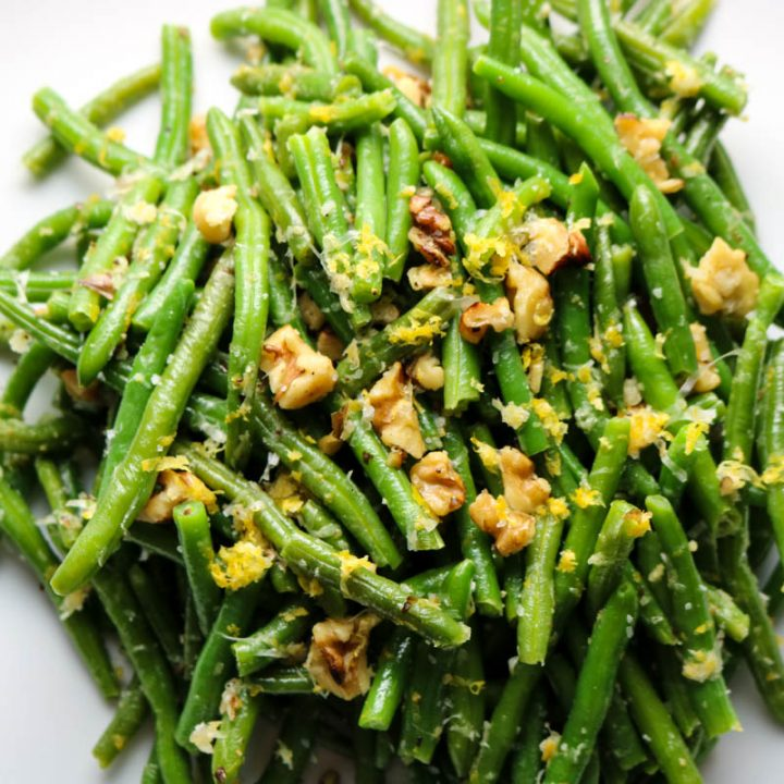 green beans with lemon and walnuts
