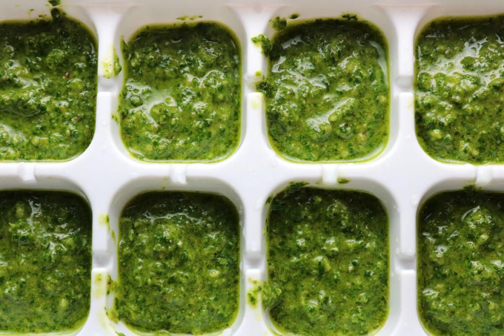 EASY recipe for Fresh Homemade Basil Pesto. BONUS tips on growing a healthy and long lasting basil plant and tips on freezing your Homemade Basil Pesto. #herbs #pesto #pastasauce #basil