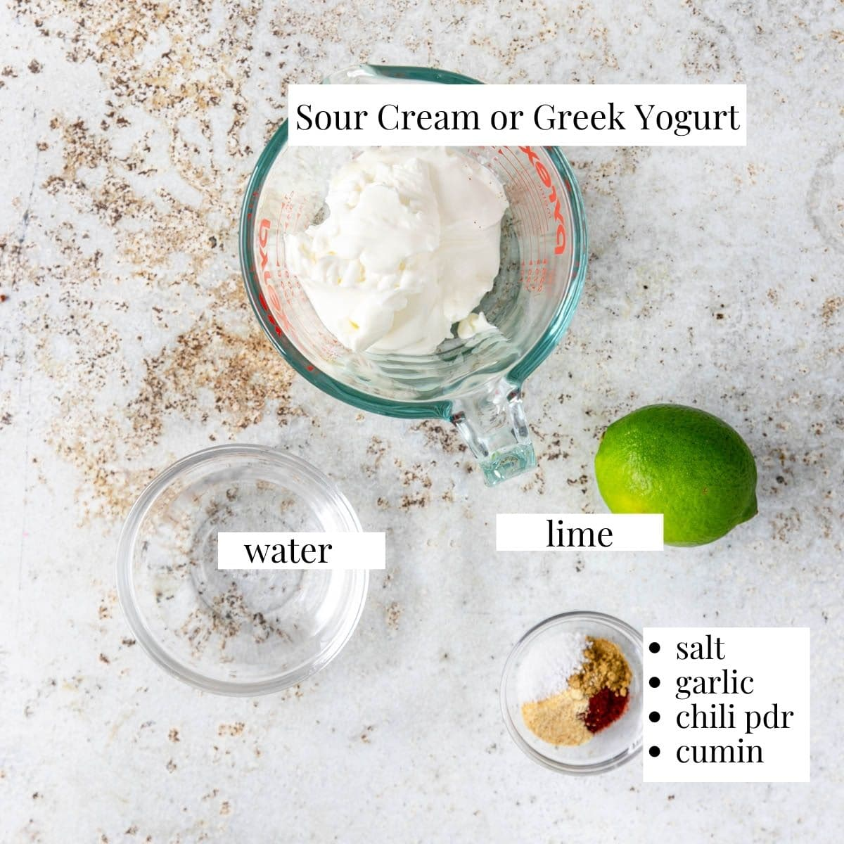 ingredients for chili lime crema