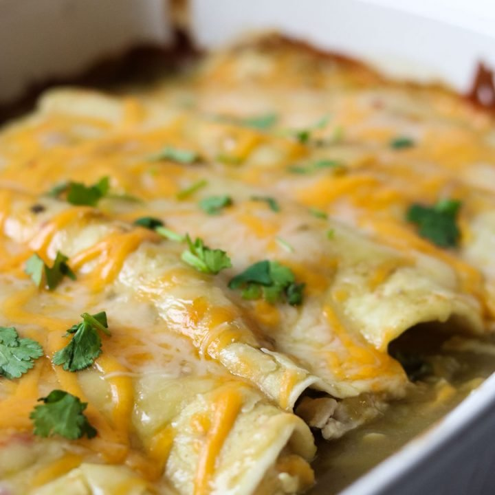 a close up of chicken enchiladas