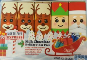 North Pole Chocolate bars from Aldi they look like a santa, an elf, and reindeer