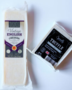 Vintage Cheddar cheese and Truffle Cheese from aldi