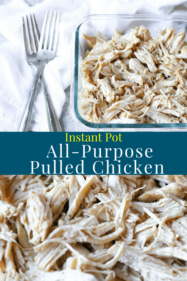 A recipe for Instant Pot Pulled Chicken. This is a great recipe to make to have chicken in your fridge, ready for dinner during a busy week. #chicken #instantpot #dinnerprep