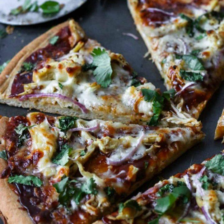 BBQ Chicken Pizza cut into slices