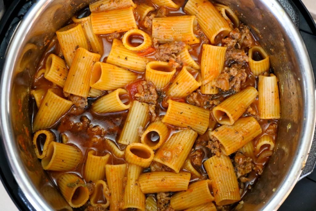 Pasta, sausage, and tomato sauce in the instant pot