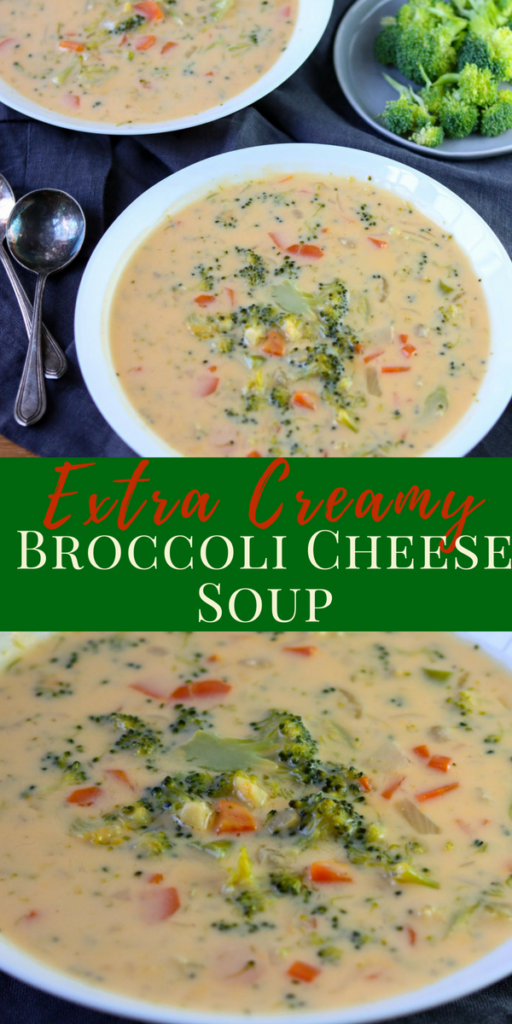 A super easy to make Broccoli Cheese Soup that is extra creamy and delicious! #soup #cheese #broccolicheesesoup