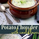 potato chowder with cauliflower pin image with text