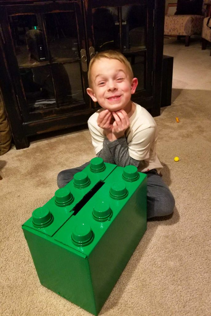 Kyle with his Lego Valentine Box