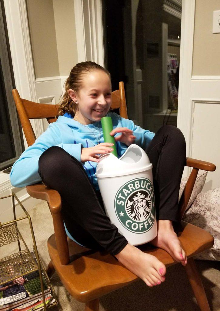 Maddie with her Starbucks Valentine Box