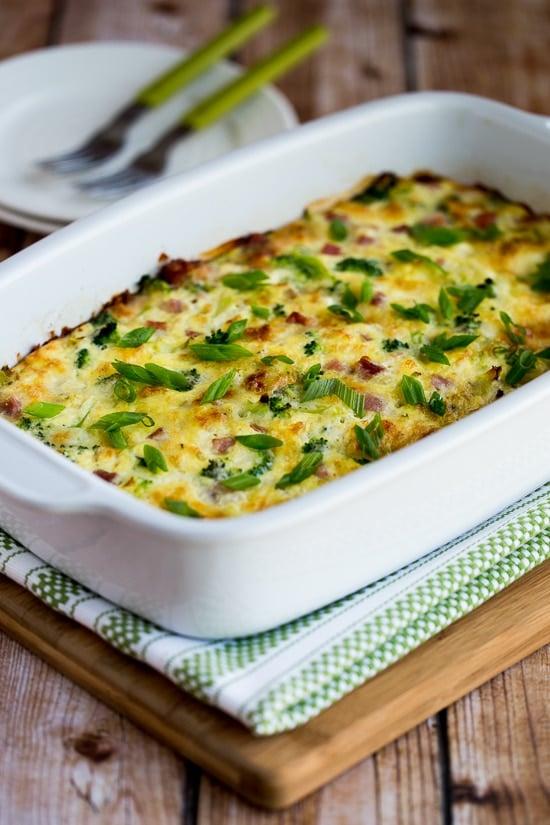 Broccoli Ham and Mozzarella Egg Bake
