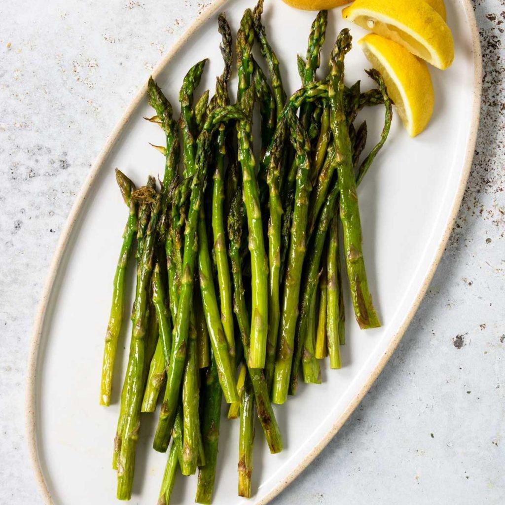 Roasted Asparagus spears on a plate