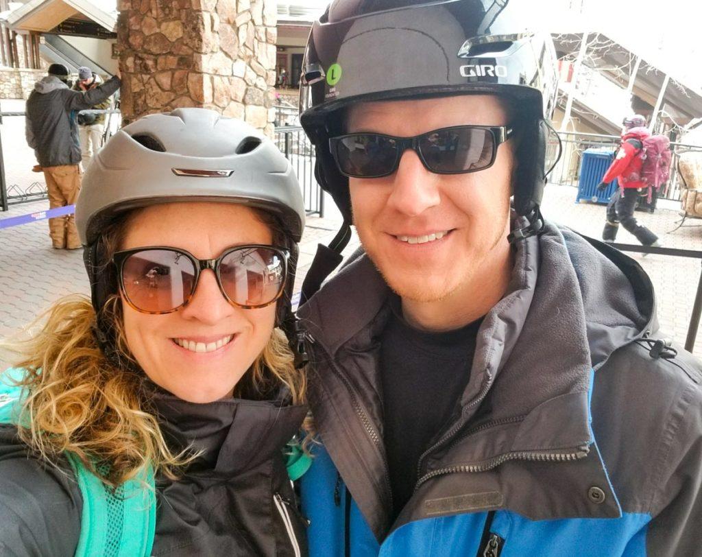 Susie and John Skiing