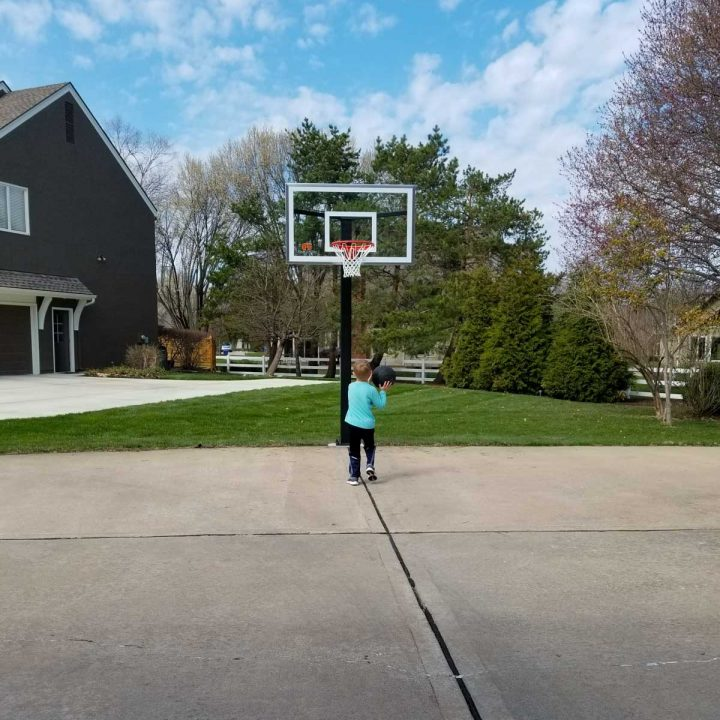Kyle playing basketball
