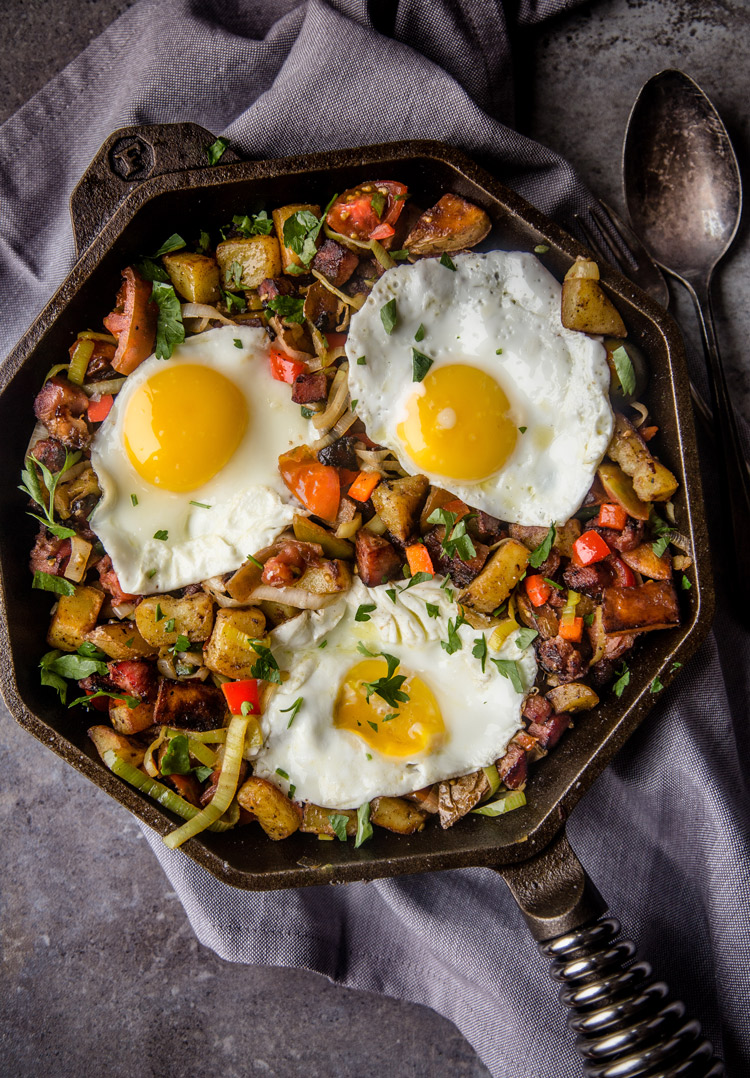 Smoked Ham Breakfast Hash in a skillet