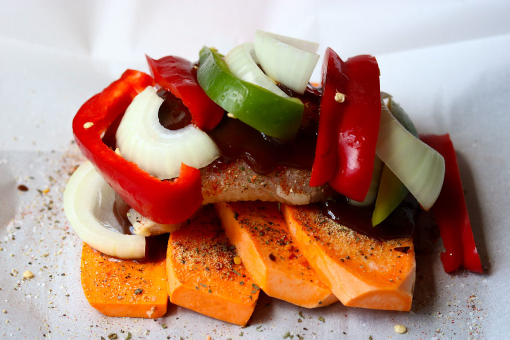 Barbecue Chicken in Parchment with Sweet Potatoes & Peppers