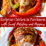 Barbecue Chicken in Parchment with Sweet Potatoes & Peppers - An easy to prep dinner that is ready in just over 30 minute dinner full of flavor and nutrition. via momsdinner.net #chickeninparchment #easydinner #chickendinner #dinnertonight