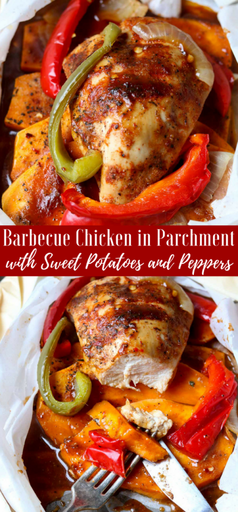 Barbecue Chicken in Parchment with Sweet Potatoes & Peppers -Pinterest Image