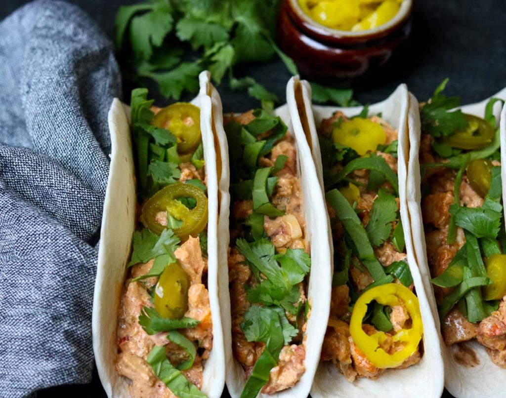 Creamy Chicken Tacos in flour tortillas