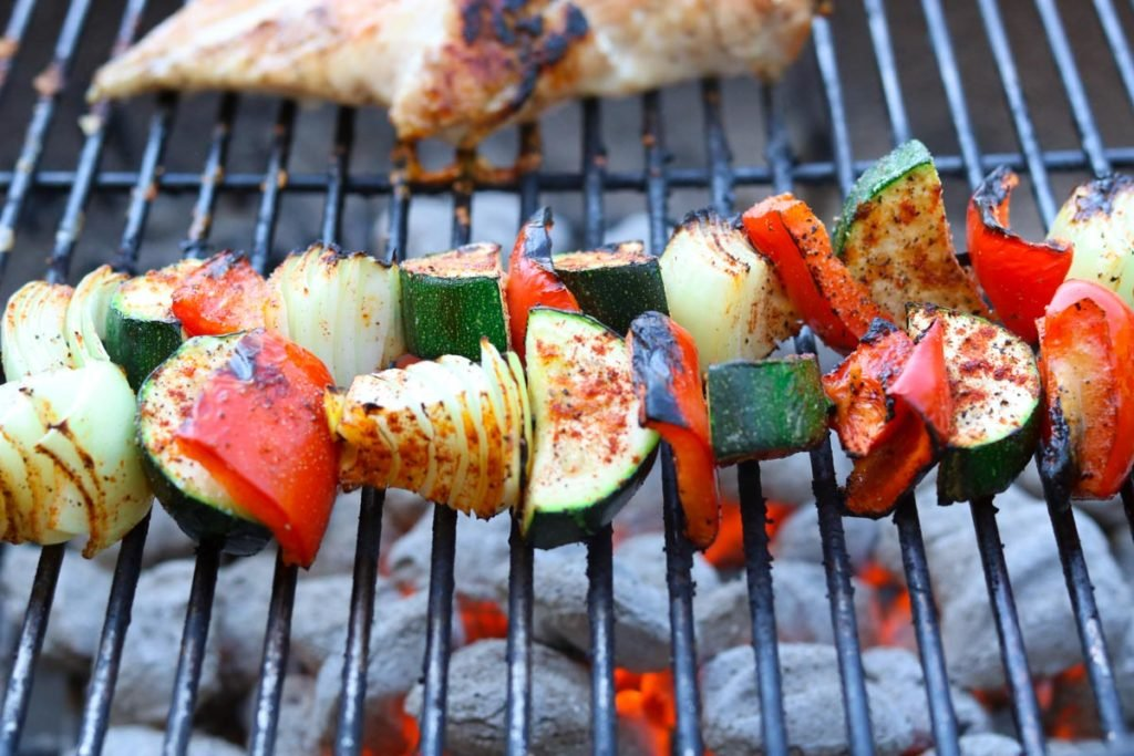 vegetables on a skewer on the grill