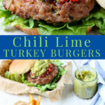 Grilled Chili Lime Turkey Burgers are juicy and flavorful turkey burgers. A healthy burger option when you want to grill dinner. Full of green chilies, lime zest, and chili powder along with seasonings and spices. EASY SUMMER DINNER! #turkey #burger #dinner #grill