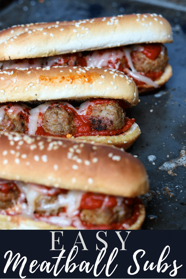 Easy Meatball sub Pinterest Image