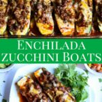 Zucchini Enchilada Boats are a great dinner!! Easy to make and full of nutrition and low in carbs. All the great flavors of traditional enchiladas without the tortilla. #zucchini #enchiladas #dinnerrecipe
