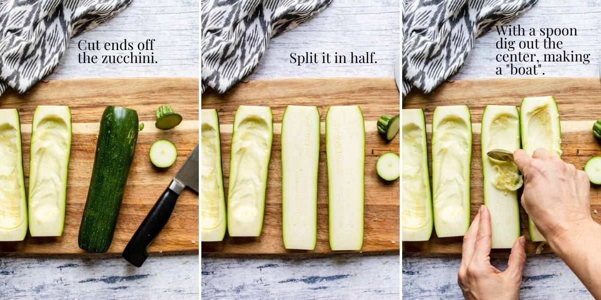 steps for making a zucchini boat