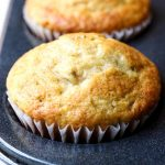 Super Simple Banana Bread Muffin recipe made with Vanilla Greek Yogurt, which helps cut the amount of butter used! Delicious, moist and tender with great banana and vanilla flavor. #bananabread #muffins #breakfast #brunch