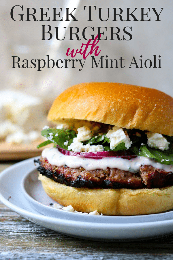 Greek Turkey Burgers with Raspberry Mint Aioli Pinterest Image