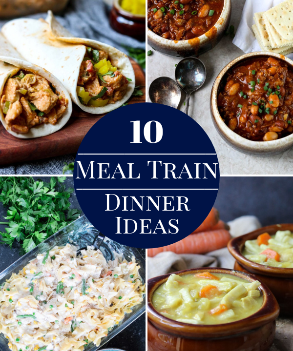 meal train dinner ideas pin image
