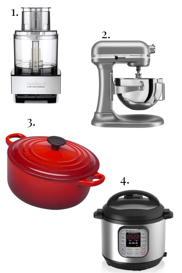 cuisinart food processor, kitchen aid stand mixer, le creuset dutch oven, instant pot