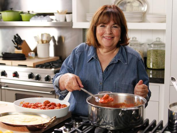 Ina Garten cooking in her kitchen