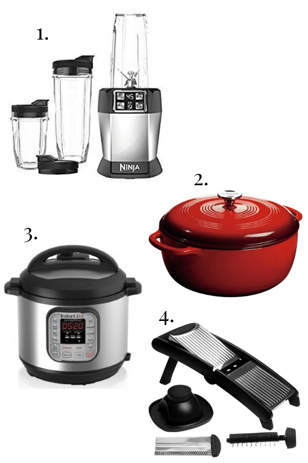ninja iq blender, lodge cast iron dutch oven, instant pot, mandoline slicer