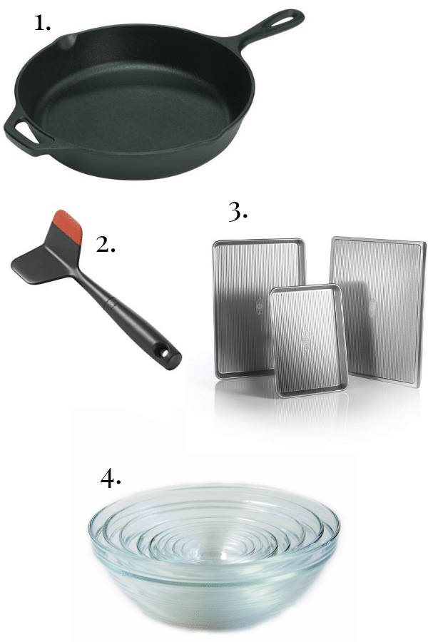 lodge cast iron skillet, meat chopper, baking pans, nesting bowls