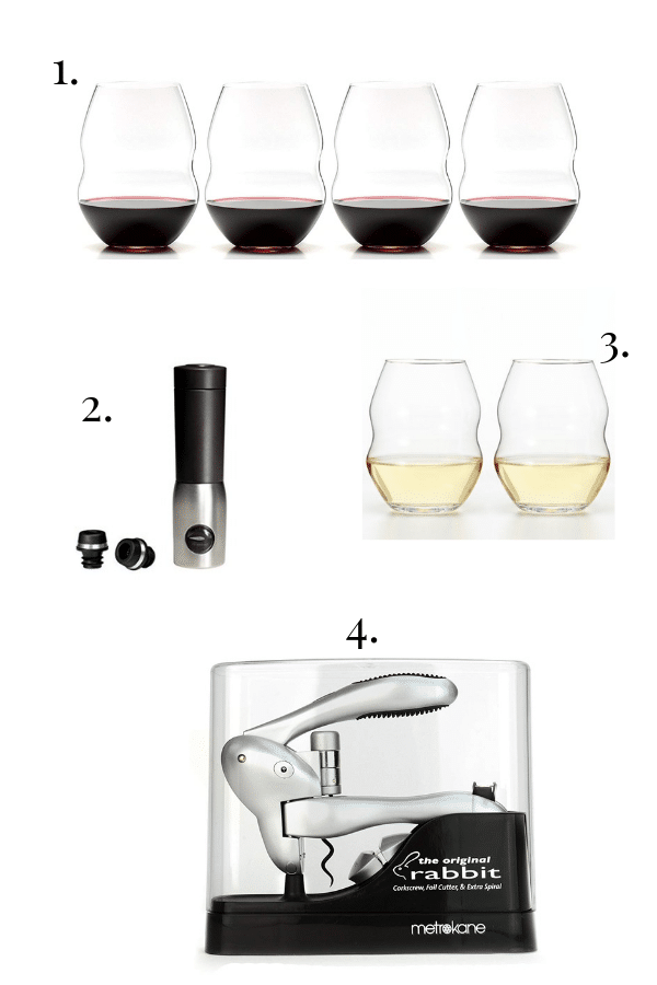riedel wine glasses, wine corker, wine bottle opener