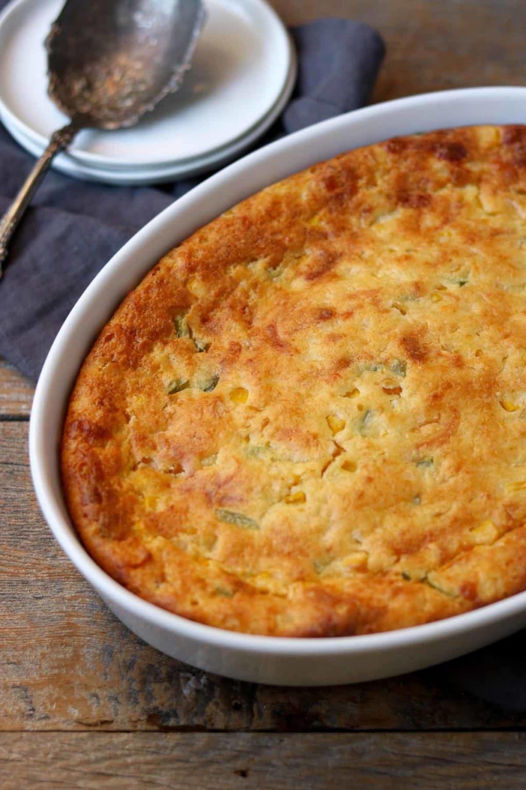 oval white casserole dish with jiffy corn casserole