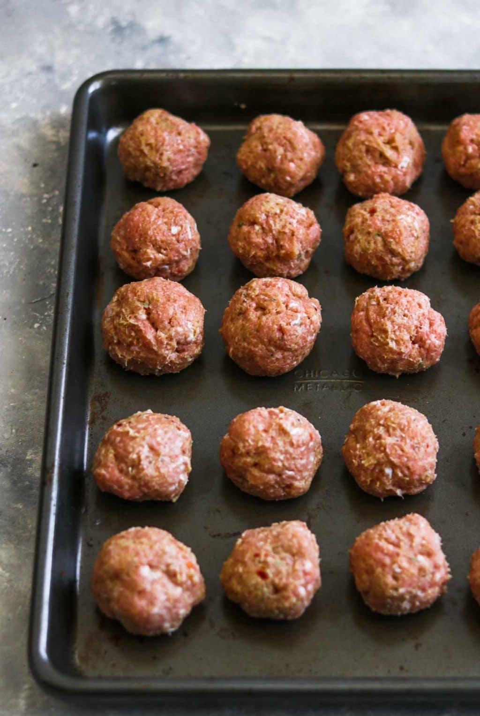 Turkey meatballs on a baking sheet