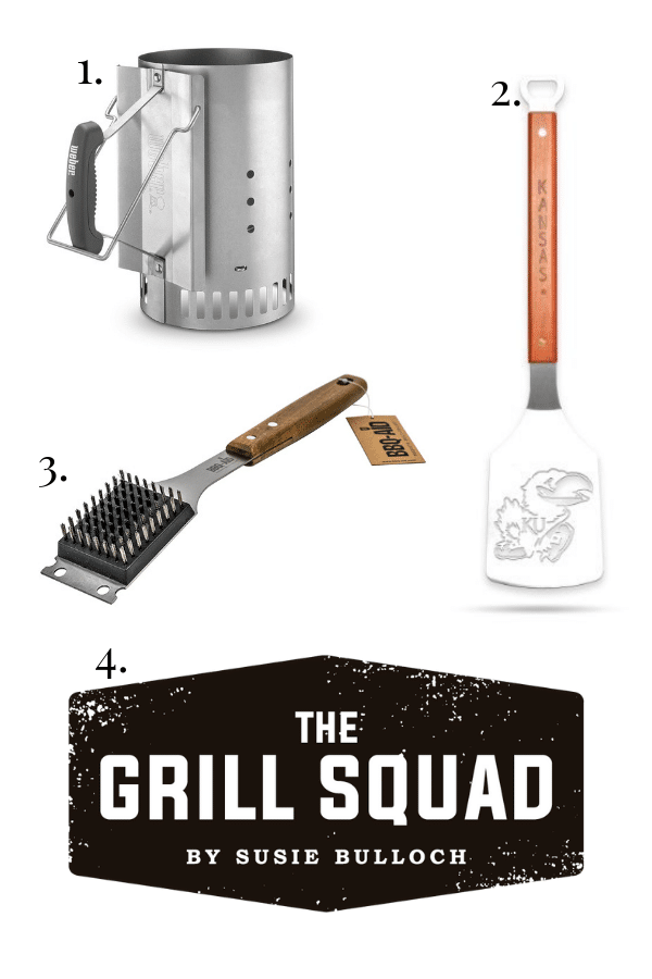 charcoal chimney , sportula, grill brush, the grill squad