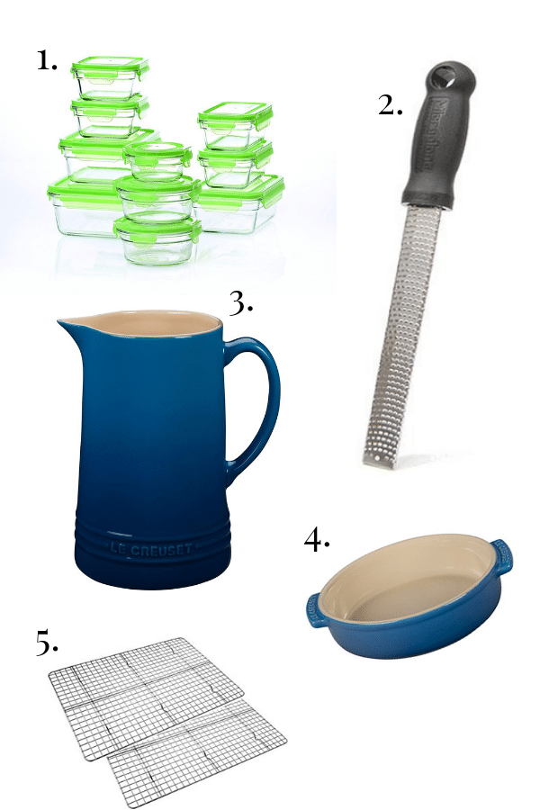 pyrex glass storage containers, zester, le creuset pitcher, le creuset tapas bowl, cooling racks