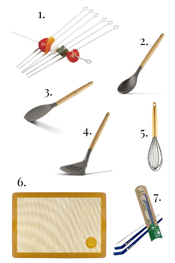 skewers, bamboo cooking utensils, sil pat, koffie straws